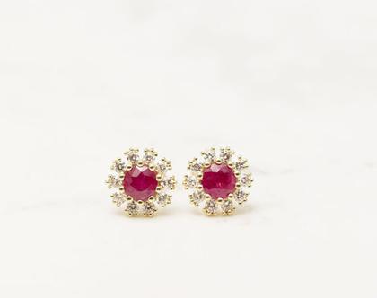 עגילי זהב צמודים, עגילי יהלומים צמודים, עגילי יהלומים מיוחדים, עגילי רובי, עגילים עם רובי