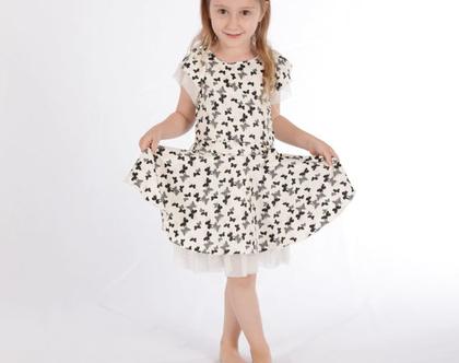 שמלה מסתובבת לילדה,שמלה חגיגית מסתובבת בהדפס פרפרים, שמלת שכבות שיפון *משלוח חינם*