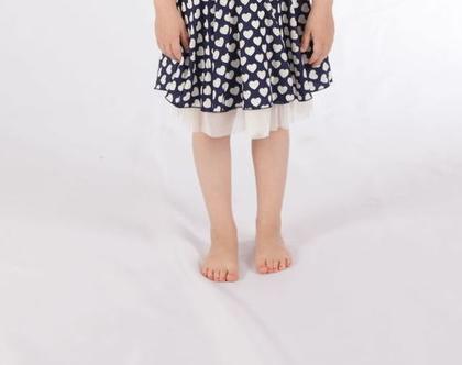 שמלה כחולה בהדפס לבבות לילדה , שמלה מסתובבת שכבות שיפון לילדה *משלוח חינם*