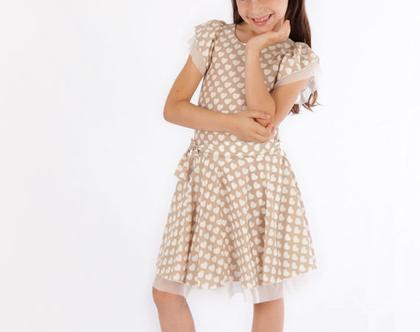 שמלה מסתובבת לילדה,שמלה חגיגית בהדפס לבבות שמנת עם שיפון *משלוח חינם*