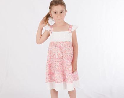 שמלה פרחונית לילדה ,שמלת כתפייה ורודה עם שרוולים *משלוח חינם*