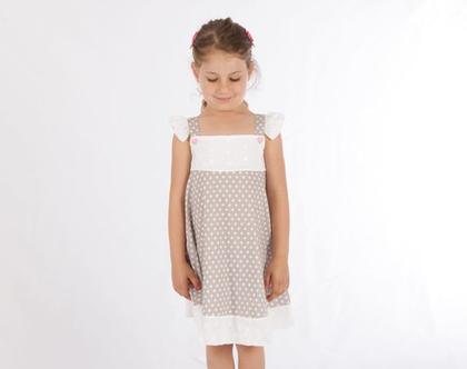 שמלה כפרית בהדפס נקודות אפור לבן לילדה. שמלת כתפייה עם שרוולים *משלוח חינם*
