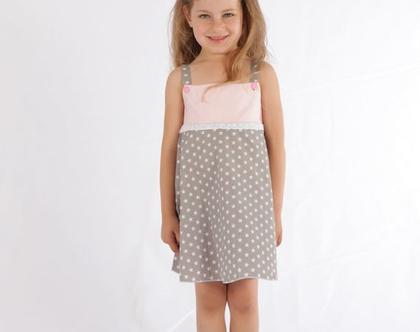 שמלה לילדה בהדפס כוכבים ורוד אפור שמלת כותנה לתינוקת *משלוח חינם*