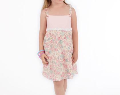שמלת כתפייה פרחונית לילדה, שמלת כותנה בשילוב סרט תחרה *משלוח חינם*