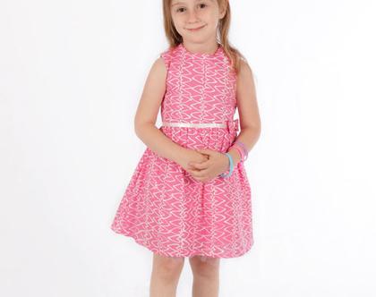 שמלת לבבות ורודה עם טול לילדה,שמלת פפיון לתינוקת *משלוח חינם*