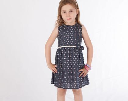 שמלת פרחים כחולה עם טול, שמלה לילדה עם חגורת קשירה *משלוח חינם*