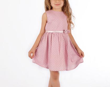 שמלת כותנה ורודה עם פפייון לילדה. שמלה לתינוקת עם טול וחגורת קשירה *משלוח חינם*