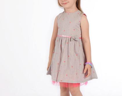 שמלה כותנה פרחונית עם טול לילדה,שמלה לתינוקת עם חגורת קשירה *משלוח חינם*