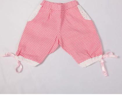 מכנס נקודות קצר עם סרט קשירה לילדה,מכנס כותנה לתינוקת ,מכנסיים קצרים לילדות