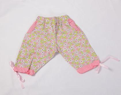מכנס פרחוני קצר לילדה,מכנסיים קצרים עם סרט קשירה ,מכנס קצר לתינוקת