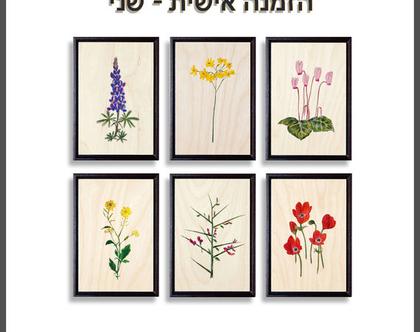 הזמנה אישית עבור שני | סדרת פרחים על עץ | תמונות לבית | תמונות לסלון | עיצוב הבית | תמונות על עץ | ציורים בוטניים