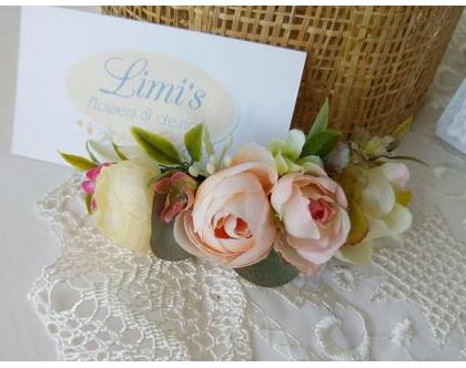 סיכה עם פרחים | אקססוריז לשיער | סיכה מעוצבת לכלה | סיכות לכלות | סיכה עדינה לשיער | אביזרי שיער | פרחים לשיער | סיכת פרחים | פרחים לכלות