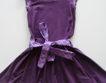 שמלה מסתובבת סגולה עם חגורה, שמלה מסתובבת לילדה, *משלוח חינם*