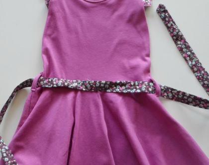 שמלה מסתובבת לילדה, שמלה סגולה עם חגורה,שמלת פעמון לילדה *משלוח חינם*