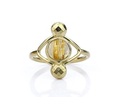 טבעת זהב בשילוב אבן חן - טבעת זהב - טבעת קווארץ - טבעת לאשה