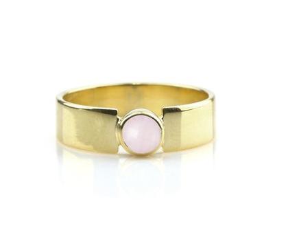 טבעת רוז קווארץ - טבעת עבה - טבעת זהב - טבעת גולדפילד - טבעת אבן חן