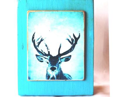 אייל, ראש אופטימי על עץ ממוחזר |תמונה לסלון| מתנה| חדר ילדים| עיצוב הבית| c1249