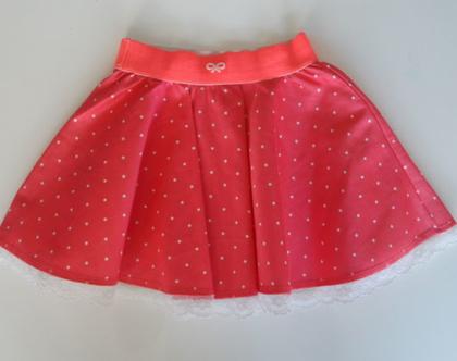 חצאית מסתובבת אדומה עם תחרה, חצאית נקודות תחרה לבנה לבנות*משלוח חינם*