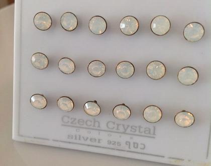 עגילי כסף צמודים לאוזן - עגילים קטנים - עגיל קטן - עגילי קריסטל צמודים