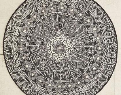 שטיח נורדי עגול, שטיח שחור עגול, שטיח שחור לבן