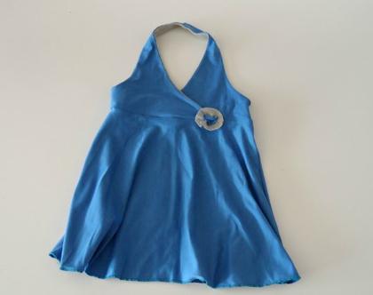 שמלת קולר גב חשוף כחולה לילדה שמלת קיץ עם גומי לילדה *משלוח חינם*