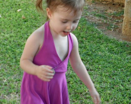 שמלת קולר גב חשוף סגולה לילדה שמלת קולר לתינוקת *משלוח חינם*