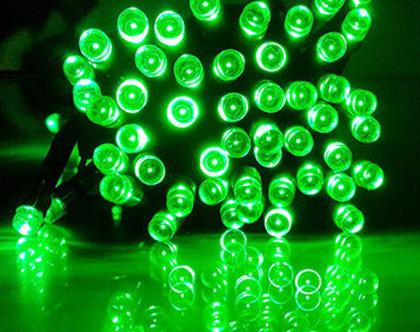גרילנדה 50 נורות לד בצבע ירוק | שרשרת נורות לד | שרשרת לדים | מנורות סולאריות לגינה