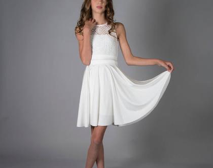 שמלת לואית לבנה לבת מצווה בעיצוב שירן סבוראי