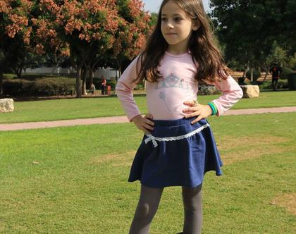 חצאית ג'ינס קצרה עם סרט תחרה חצאית ג'ינס לילדה *משלוח חינם*