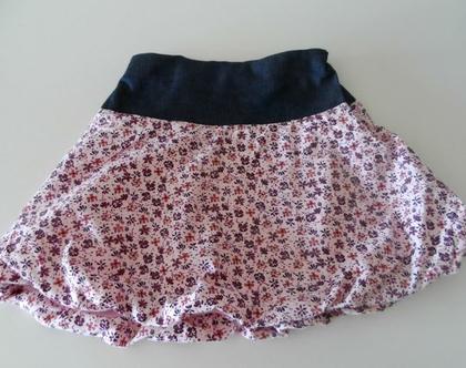 חצאית פרחונית לילדה חצאית בלון בשילוב ג'ינס *משלוח חינם*