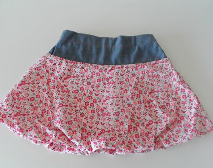 חצאית פרחונית לילדה חצאית בלון ורודה בשילוב ג'ינס *משלוח חינם*