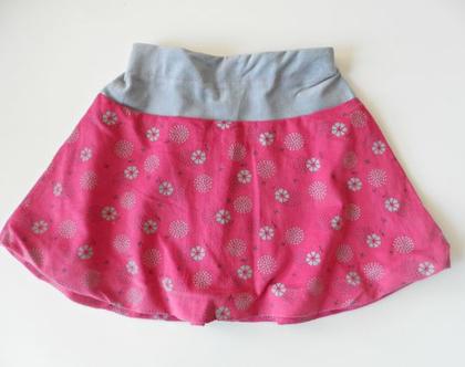 חצאית פרחונית לחורף חצאית ג'ינס וקורדרוי ורודה לילדה *משלוח חינם*