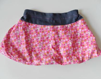 חצאית חורף ורודה לילדה חצאית בלון בהדפס שובב עם פליז *משלוח חינם*