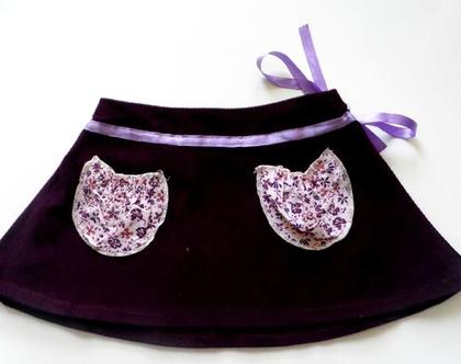חצאית סגולה מתרחבת לילדה , חצאית כיסים וסרט קשירה *משלוח חינם*