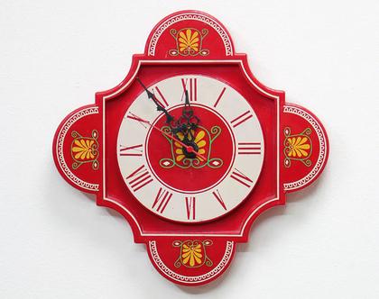 שעון קיר וינטאג׳ אדום ופרחוני