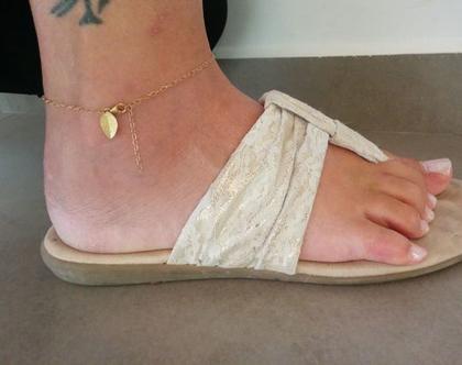 צמיד רגל | צמיד רגל מזהב | צמיד גולדפילד לרגל | צמיד רגל תליון עלה | צמיד עלה לרגל | צמיד רגל מגולדפילד | צמיד רגל עם תליון |צמיד לקיץ