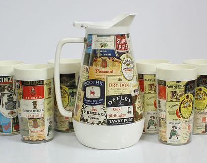 סט 6 כוסות וקנקן וינטאג׳