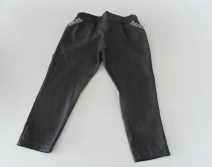 מכנסי ג'ינס שחורים עם גומי לילדה מכנס סקיני גמיש עם כיסי תחרה *משלוח חינם*