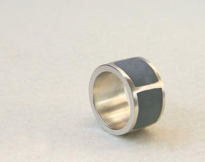 טבעת גריד עבה כסף ובטון