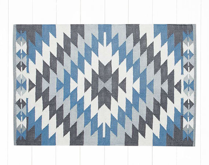 שטיחון כותנה קילים גאומטרי כחול