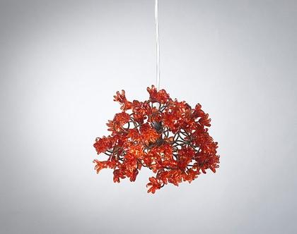 גוף תאורה פרח קופצני אדום