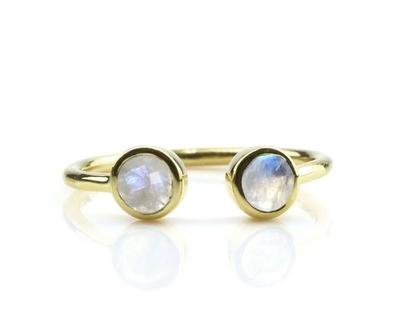 טבעת מון סטון פתוחה - טבעת אבני חן - טבעת זהב - טבעת גולדפילד