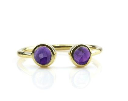 טבעת אמטיסט מגולדפילד - טבעת זהב - טבעת אבן חן - טבעת אבן לידה - טבעת בשיבוץ אבן חן