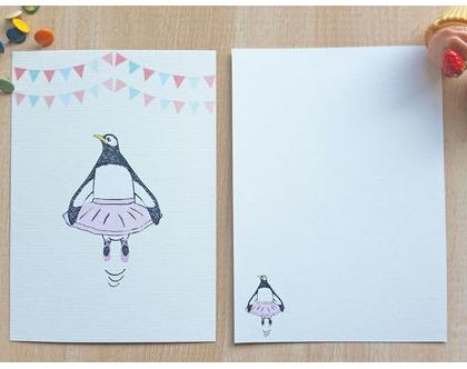 גלויה פינגווין בלרינה   גלויה למסגור   עיצוב הבית