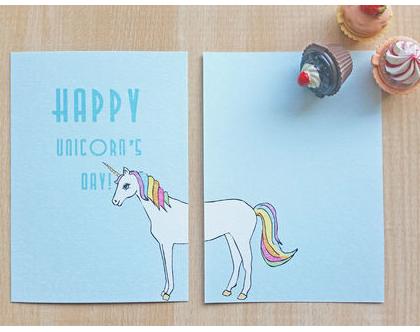 """גלויה """"Happy unicorn's day""""   גלויה למסגור   עיצוב הבית"""
