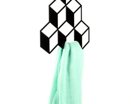 מתלה לאחסון, מתלה לאקססוריז, מתלה לארון שנראה כתלת מימדי לתליית חגורות, צעיפים, תכשיטים וכו' - 6 קוביות