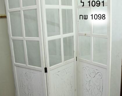 פרגוד עץ מלא-דלתות זכוכית
