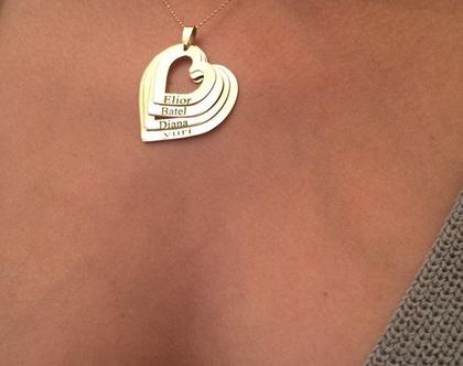 שרשרת לבבות זהב אמיתי 14K - שרשרת שמות - שרשרת שם - שרשרת לאמא - שרשרת לסבתא - שרשרת לאישה - שרשרת ליולדת - שרשרת ילדים - שרשרת נכדים