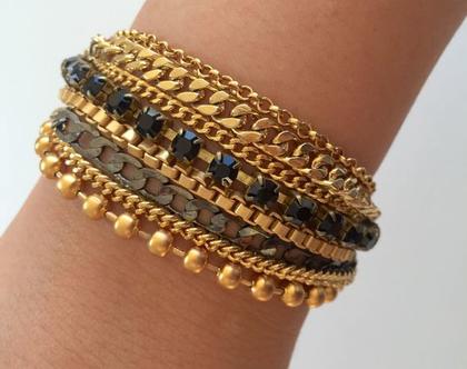 צמיד צ'אנקי, צמיד אבזם עור מרובה שרשראות/ ציפויי זהב/ צמידי זהב/ צמיד עור/ נח לשימוש