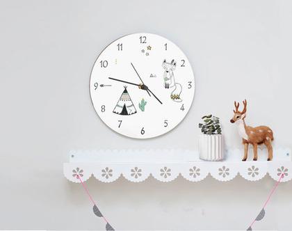שעון קיר לחדר ילדים בשחור ולבן, שעון קיר במראה נקי בהשראה אינדיאנית